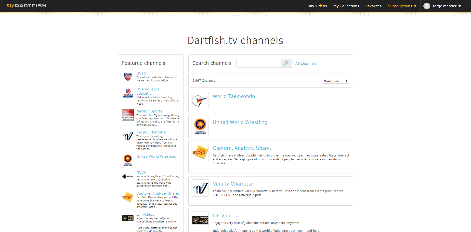 Dartfish.tv in organizations.